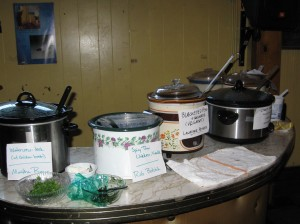 busy crock pots all in a row